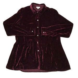 J. Jill Velour Button Down Shirt Long Sleeve Top